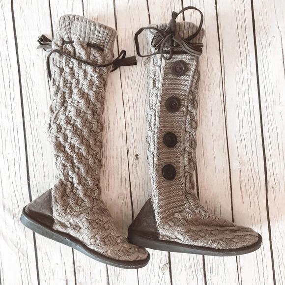 Muk Luks Knit Tasseled Sweater Slipper Boots